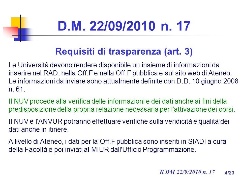Il DM 22/9/2010 n. 17 4/23 D.M. 22/09/2010 n. 17 Requisiti di trasparenza (art.