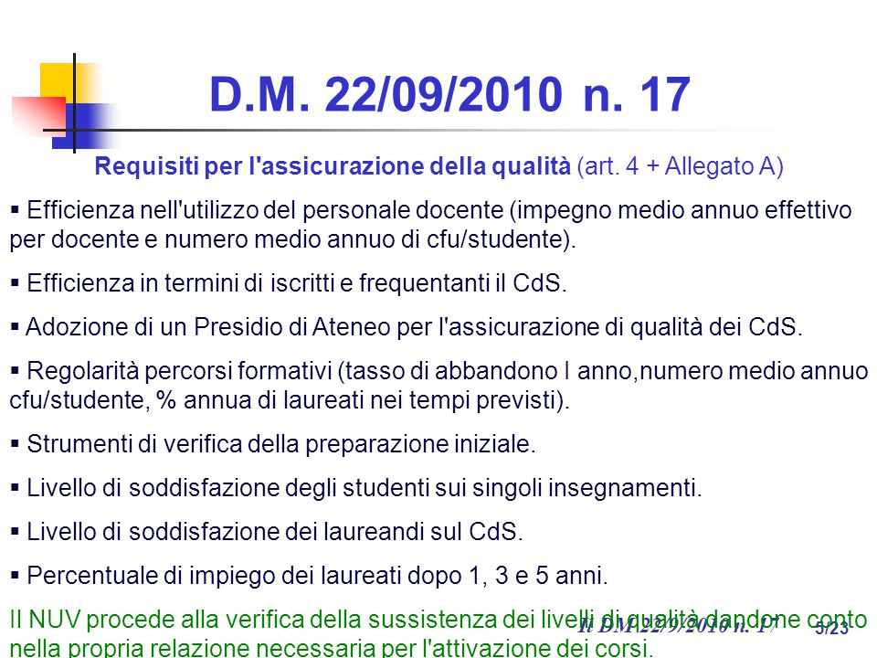 Il DM 22/9/2010 n.17 5/23 D.M. 22/09/2010 n. 17 Requisiti per l assicurazione della qualità (art.