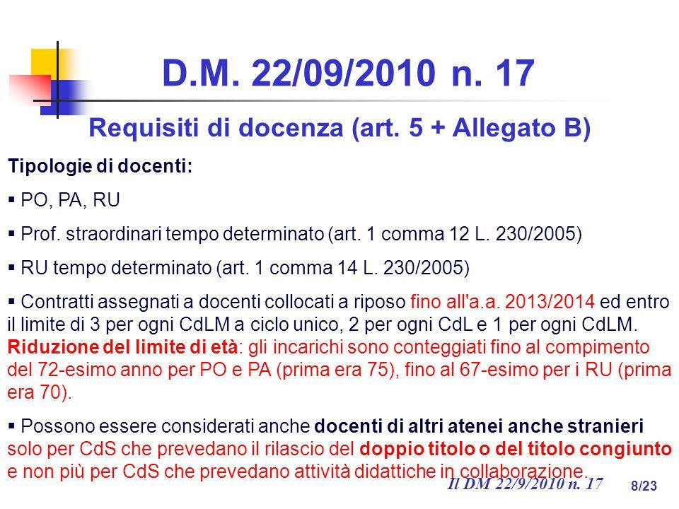 Il DM 22/9/2010 n. 17 8/23 D.M. 22/09/2010 n. 17 Requisiti di docenza (art.