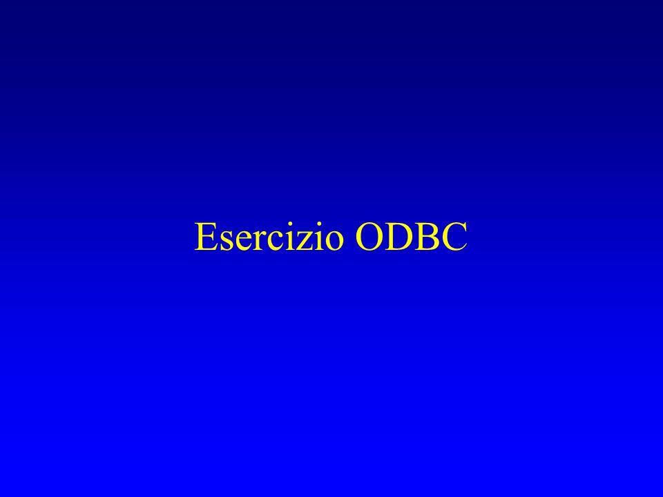 Configurare il driver ODBC Start  Control Panel  Administrative Tools Aprire: Data Source(ODBC) User DSN  Add….