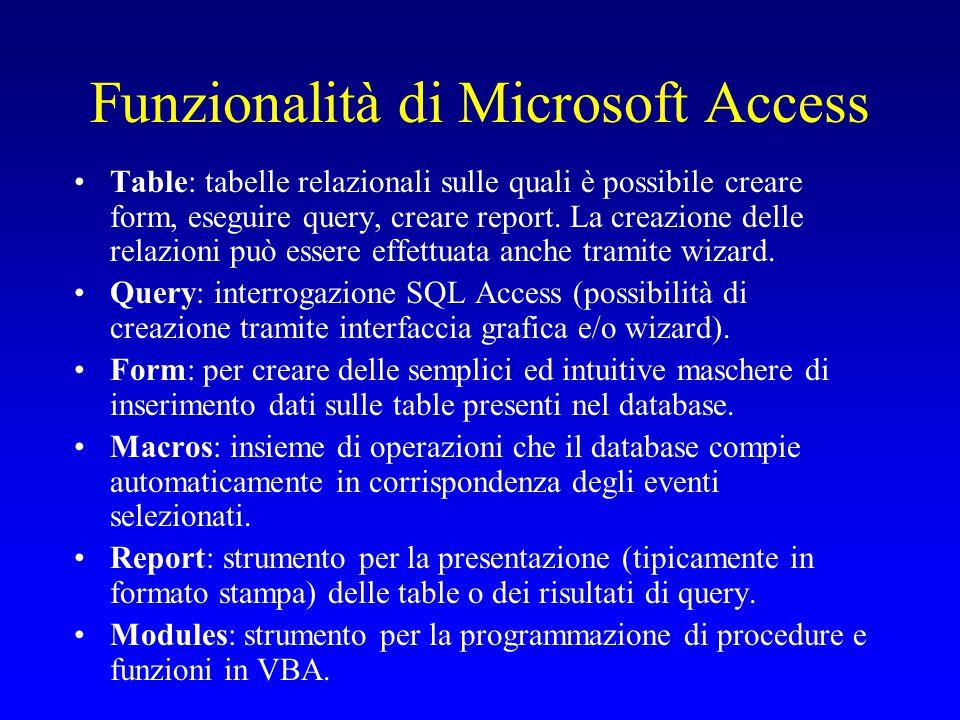 Funzionalità di Microsoft Access Table: tabelle relazionali sulle quali è possibile creare form, eseguire query, creare report. La creazione delle rel