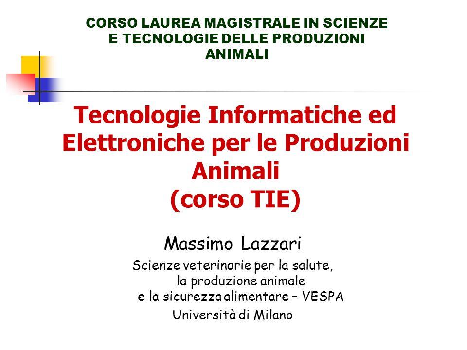 Tecnologie Informatiche ed Elettroniche per le Produzioni Animali (corso TIE) CORSO LAUREA MAGISTRALE IN SCIENZE E TECNOLOGIE DELLE PRODUZIONI ANIMALI Massimo Lazzari Scienze veterinarie per la salute, la produzione animale e la sicurezza alimentare – VESPA Università di Milano