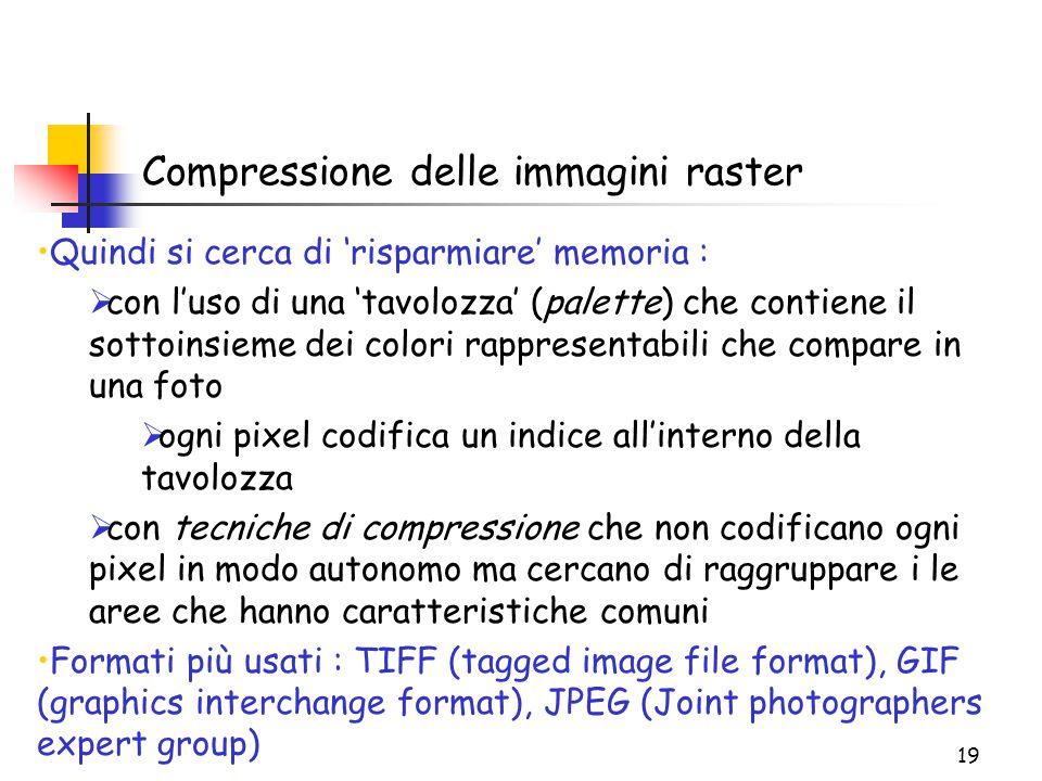 19 Compressione delle immagini raster Quindi si cerca di 'risparmiare' memoria :  con l'uso di una 'tavolozza' (palette) che contiene il sottoinsieme dei colori rappresentabili che compare in una foto  ogni pixel codifica un indice all'interno della tavolozza  con tecniche di compressione che non codificano ogni pixel in modo autonomo ma cercano di raggruppare i le aree che hanno caratteristiche comuni Formati più usati : TIFF (tagged image file format), GIF (graphics interchange format), JPEG (Joint photographers expert group)