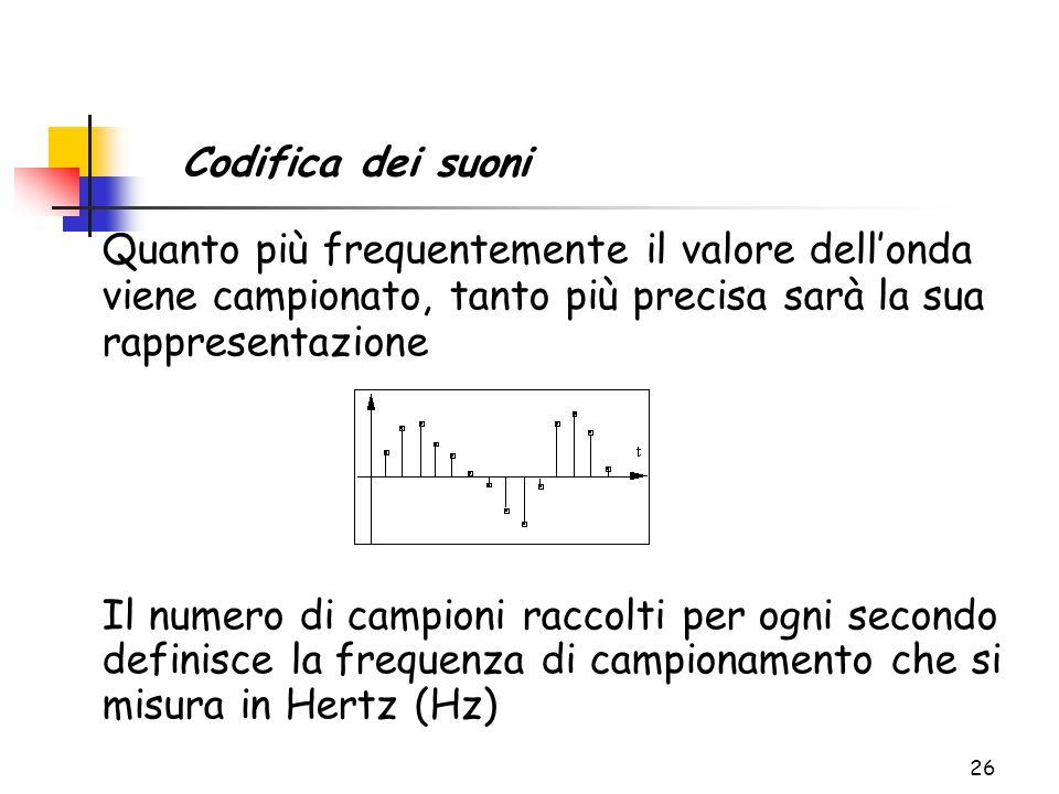 26 Quanto più frequentemente il valore dell'onda viene campionato, tanto più precisa sarà la sua rappresentazione Il numero di campioni raccolti per ogni secondo definisce la frequenza di campionamento che si misura in Hertz (Hz) Codifica dei suoni