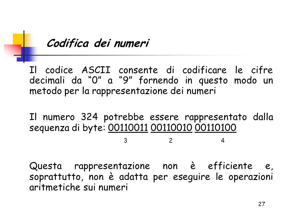 """27 Il codice ASCII consente di codificare le cifre decimali da """"0"""" a """"9"""" fornendo in questo modo un metodo per la rappresentazione dei numeri Il numer"""
