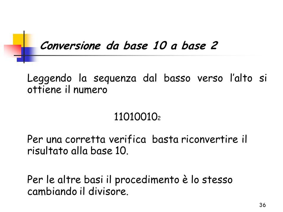 36 Leggendo la sequenza dal basso verso l'alto si ottiene il numero 11010010 2 Per una corretta verifica basta riconvertire il risultato alla base 10.