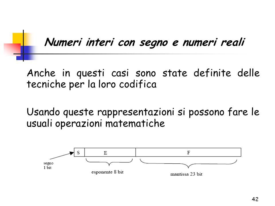 42 Anche in questi casi sono state definite delle tecniche per la loro codifica Usando queste rappresentazioni si possono fare le usuali operazioni matematiche Numeri interi con segno e numeri reali