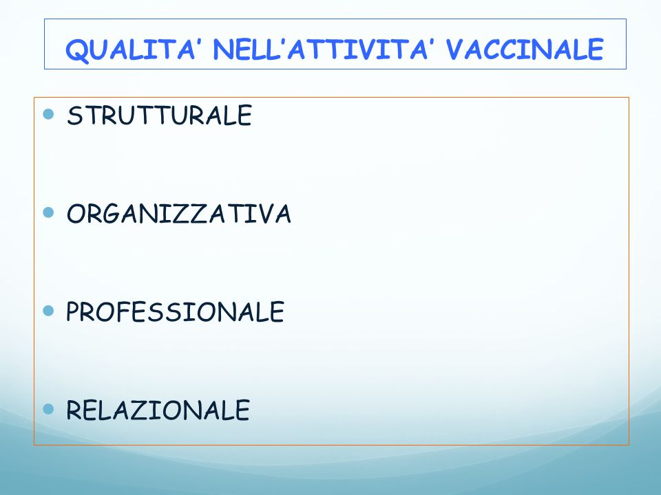 STRUTTURALE ORGANIZZATIVA PROFESSIONALE RELAZIONALE QUALITA' NELL'ATTIVITA' VACCINALE