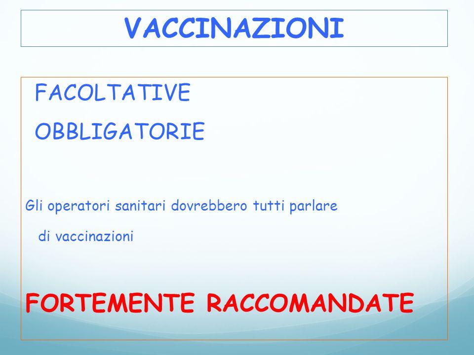 FACOLTATIVE OBBLIGATORIE Gli operatori sanitari dovrebbero tutti parlare di vaccinazioni FORTEMENTE RACCOMANDATE VACCINAZIONI