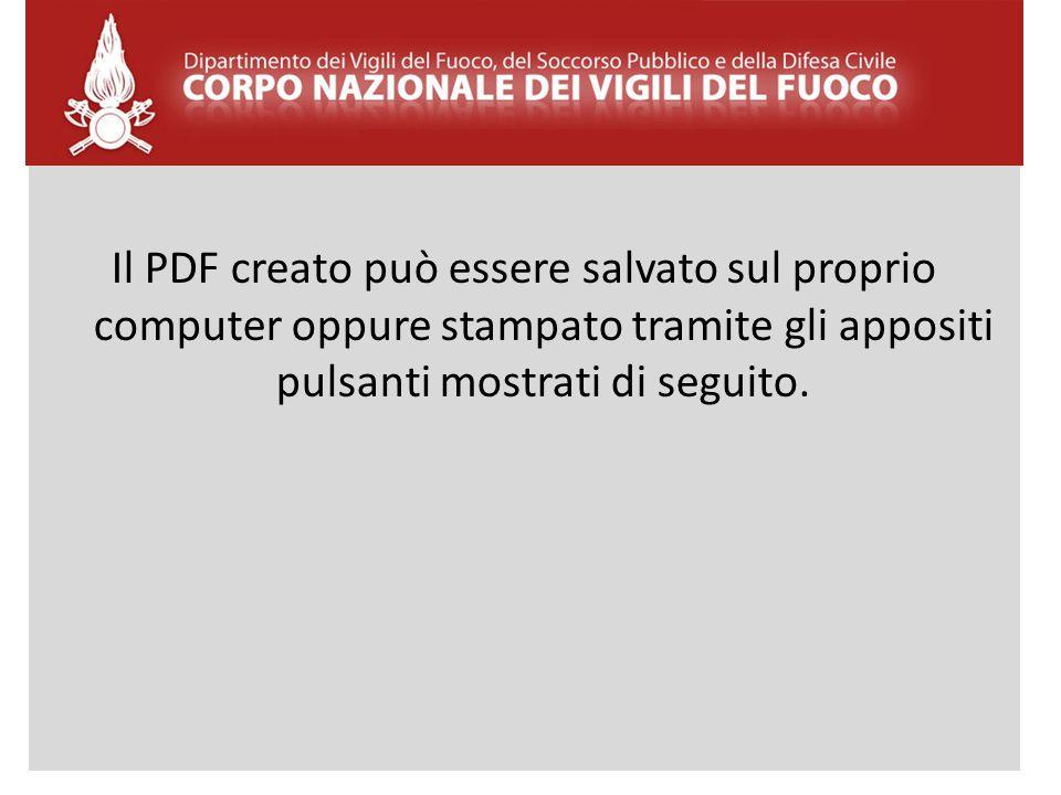 Il PDF creato può essere salvato sul proprio computer oppure stampato tramite gli appositi pulsanti mostrati di seguito.