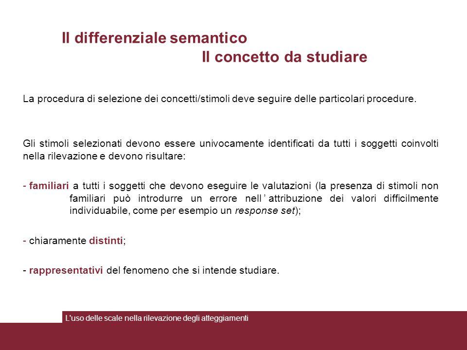 La procedura di selezione dei concetti/stimoli deve seguire delle particolari procedure.