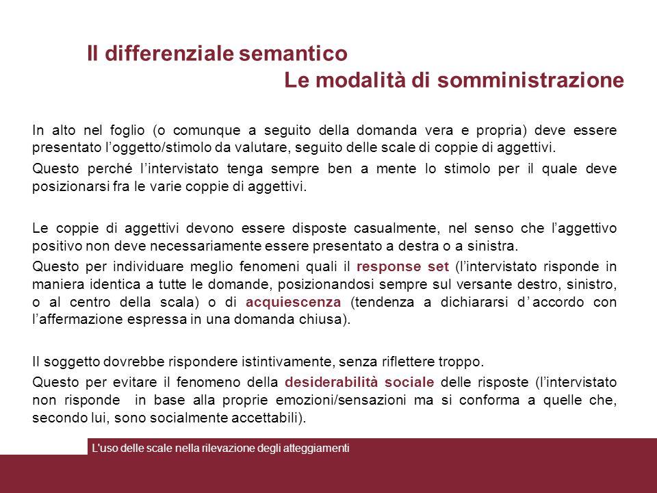 In alto nel foglio (o comunque a seguito della domanda vera e propria) deve essere presentato l'oggetto/stimolo da valutare, seguito delle scale di coppie di aggettivi.
