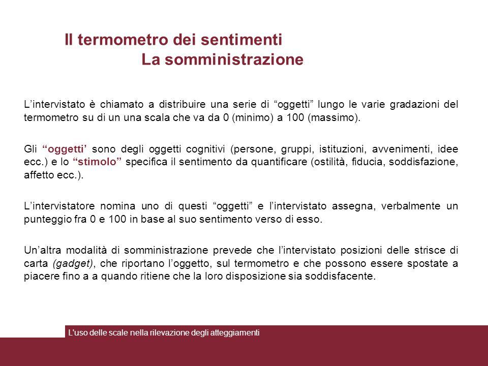 L'intervistato è chiamato a distribuire una serie di oggetti lungo le varie gradazioni del termometro su di un una scala che va da 0 (minimo) a 100 (massimo).