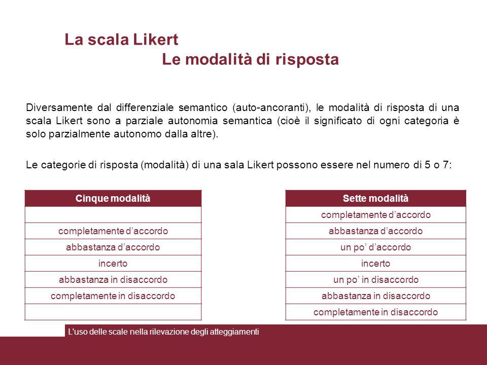 La scala Likert Le modalità di risposta Cinque modalitàSette modalità completamente d'accordo abbastanza d'accordo un po' d'accordo incerto abbastanza