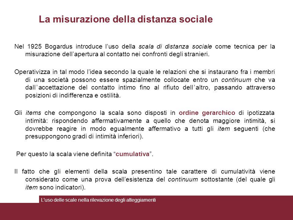 La misurazione della distanza sociale Nel 1925 Bogardus introduce l'uso della scala di distanza sociale come tecnica per la misurazione dell'apertura