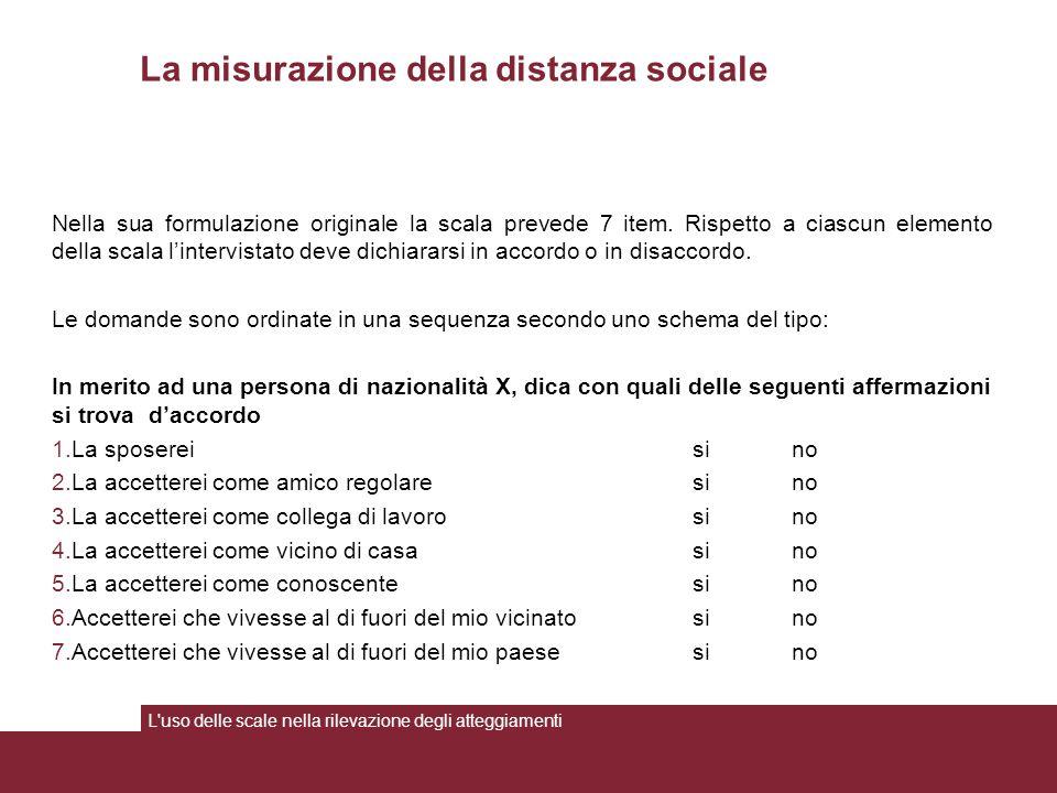 La misurazione della distanza sociale Nella sua formulazione originale la scala prevede 7 item. Rispetto a ciascun elemento della scala l'intervistato
