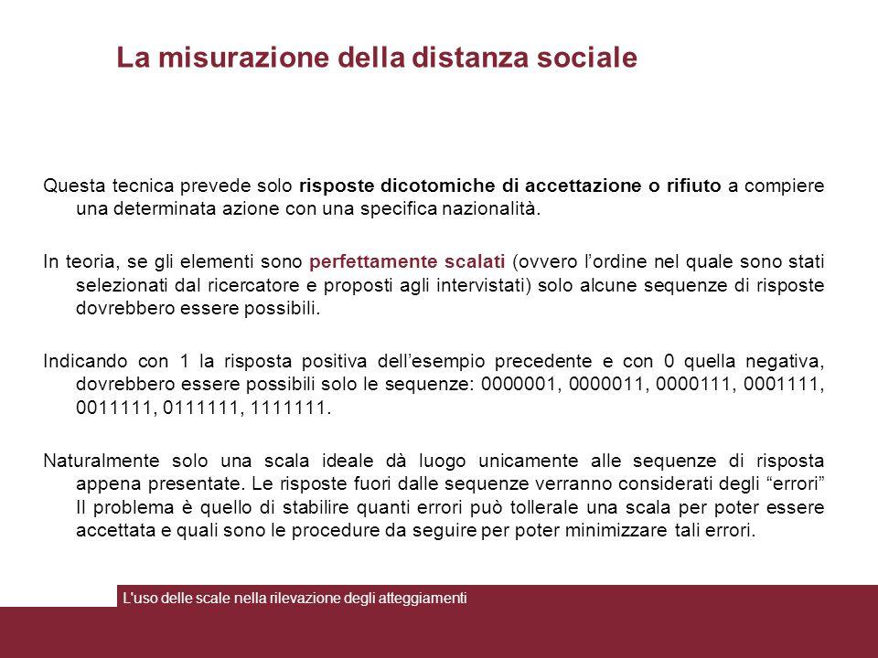 La misurazione della distanza sociale Questa tecnica prevede solo risposte dicotomiche di accettazione o rifiuto a compiere una determinata azione con una specifica nazionalità.