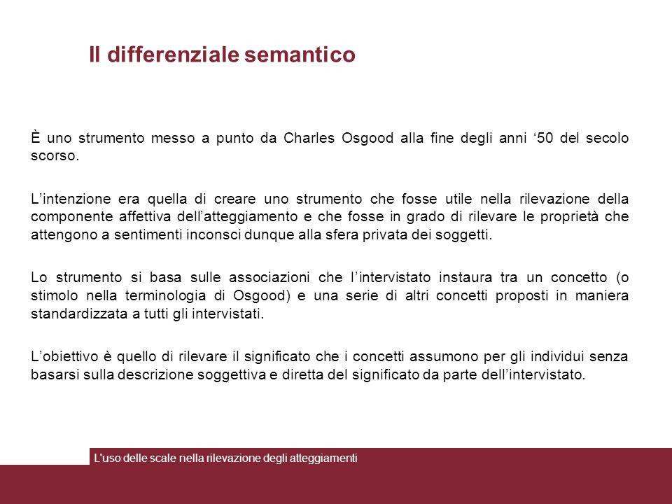 Il differenziale semantico È uno strumento messo a punto da Charles Osgood alla fine degli anni '50 del secolo scorso. L'intenzione era quella di crea