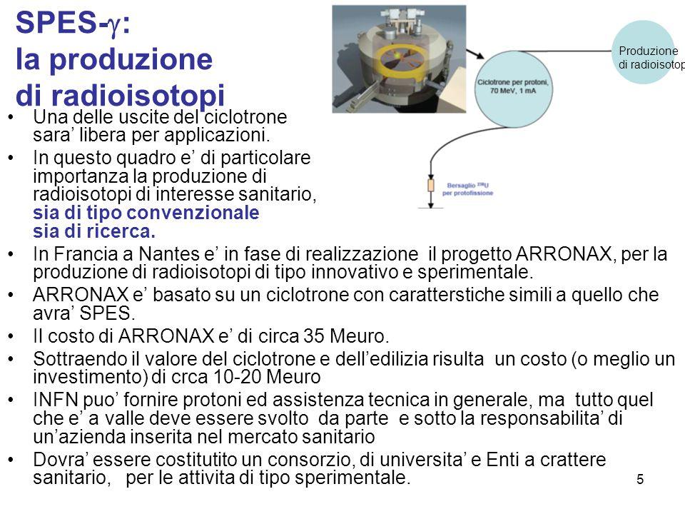 5 SPES-  : la produzione di radioisotopi Una delle uscite del ciclotrone sara' libera per applicazioni. In questo quadro e' di particolare importanza