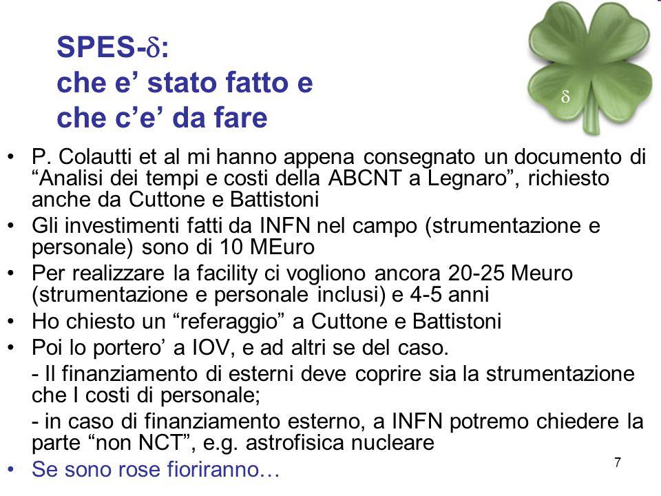 """7 SPES-  : che e' stato fatto e che c'e' da fare P. Colautti et al mi hanno appena consegnato un documento di """"Analisi dei tempi e costi della ABCNT"""