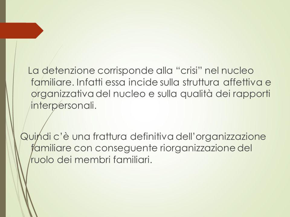 """La detenzione corrisponde alla """"crisi"""" nel nucleo familiare. Infatti essa incide sulla struttura affettiva e organizzativa del nucleo e sulla qualità"""