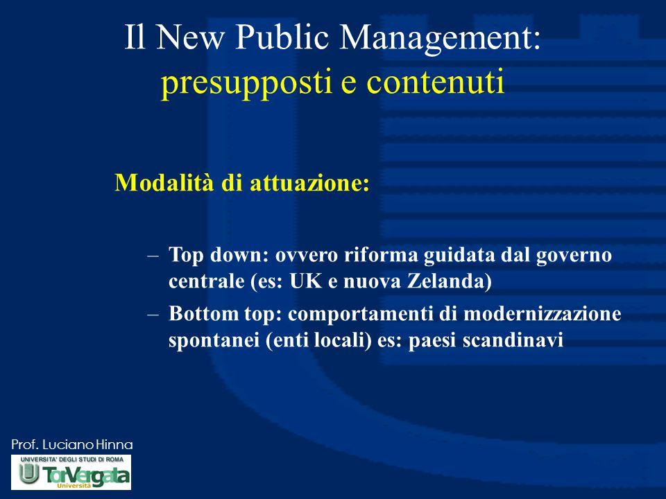 Prof. Luciano Hinna Il New Public Management: presupposti e contenuti Modalità di attuazione: –Top down: ovvero riforma guidata dal governo centrale (