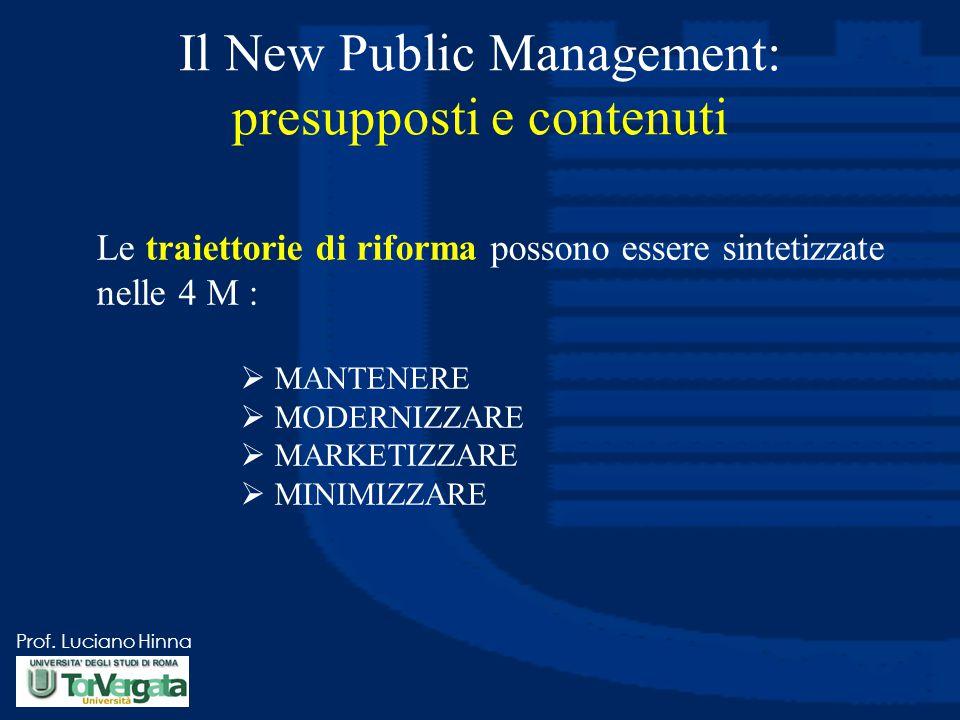 Prof. Luciano Hinna Il New Public Management: presupposti e contenuti Le traiettorie di riforma possono essere sintetizzate nelle 4 M :  MANTENERE 