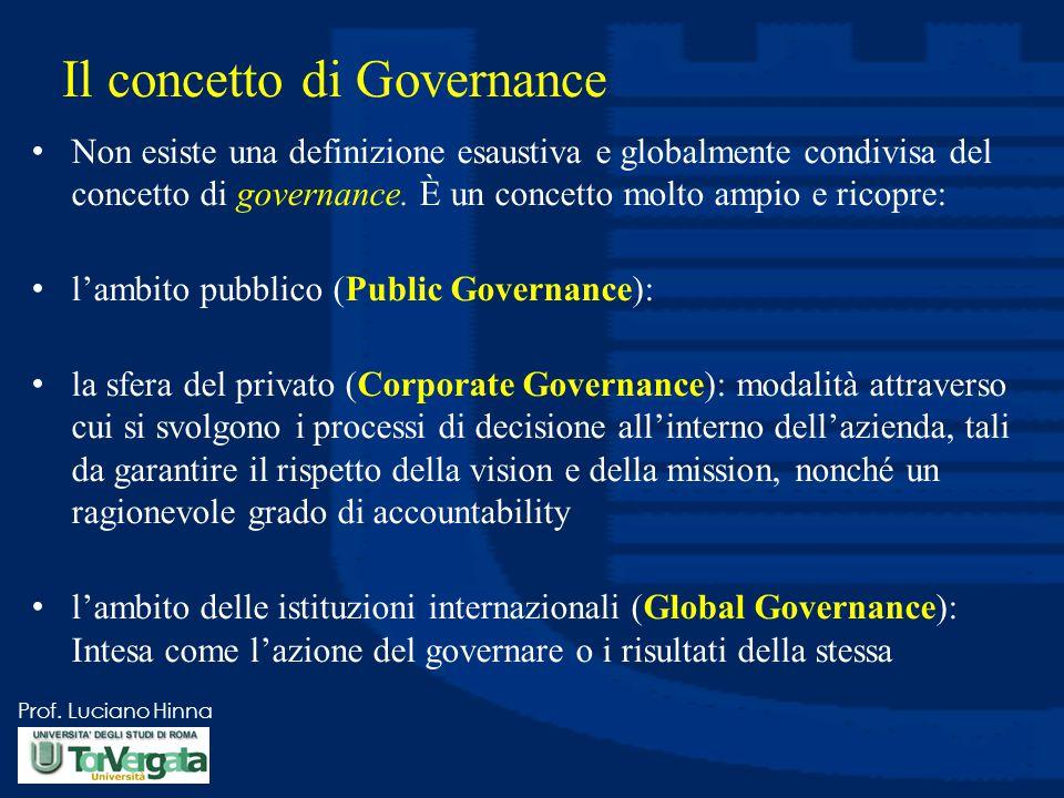 Prof. Luciano Hinna Il concetto di Governance Non esiste una definizione esaustiva e globalmente condivisa del concetto di governance. È un concetto m
