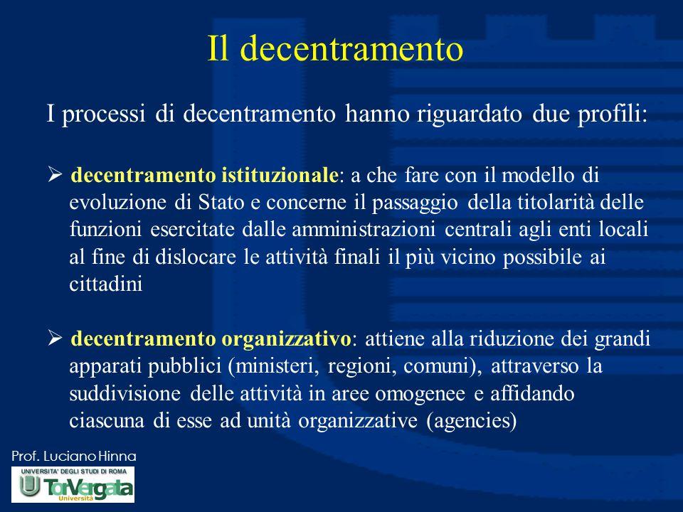 Prof. Luciano Hinna Il decentramento I processi di decentramento hanno riguardato due profili:  decentramento istituzionale: a che fare con il modell