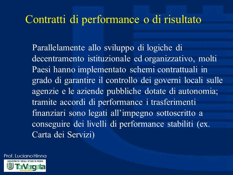 Prof. Luciano Hinna Contratti di performance o di risultato Parallelamente allo sviluppo di logiche di decentramento istituzionale ed organizzativo, m