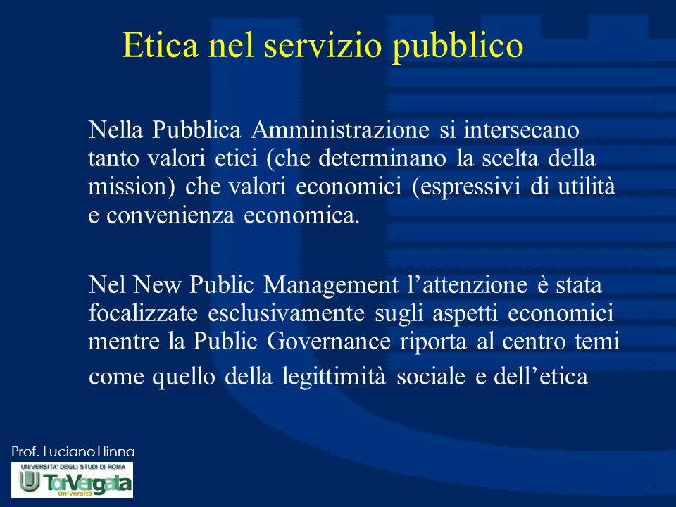 Prof. Luciano Hinna Etica nel servizio pubblico Nella Pubblica Amministrazione si intersecano tanto valori etici (che determinano la scelta della miss