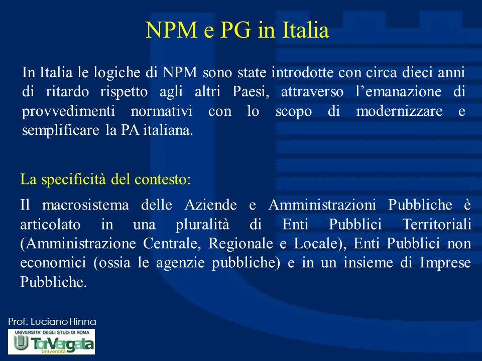 Prof. Luciano Hinna NPM e PG in Italia In Italia le logiche di NPM sono state introdotte con circa dieci anni di ritardo rispetto agli altri Paesi, at