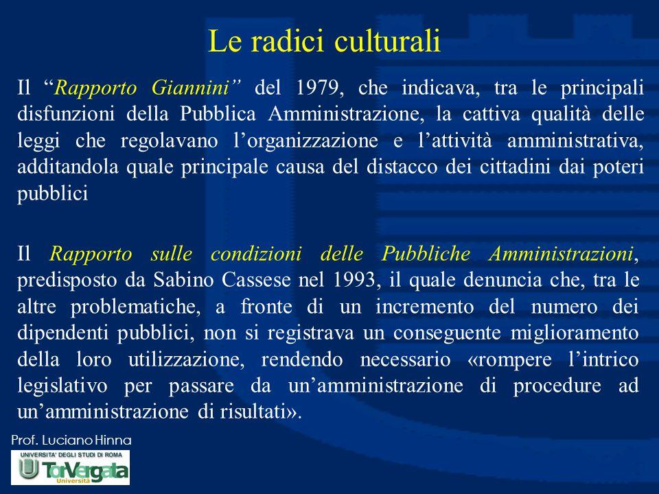 """Prof. Luciano Hinna Le radici culturali Il """"Rapporto Giannini"""" del 1979, che indicava, tra le principali disfunzioni della Pubblica Amministrazione, l"""
