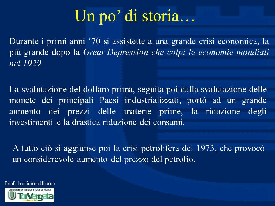 Prof. Luciano Hinna Un po' di storia… Durante i primi anni '70 si assistette a una grande crisi economica, la più grande dopo la Great Depression che