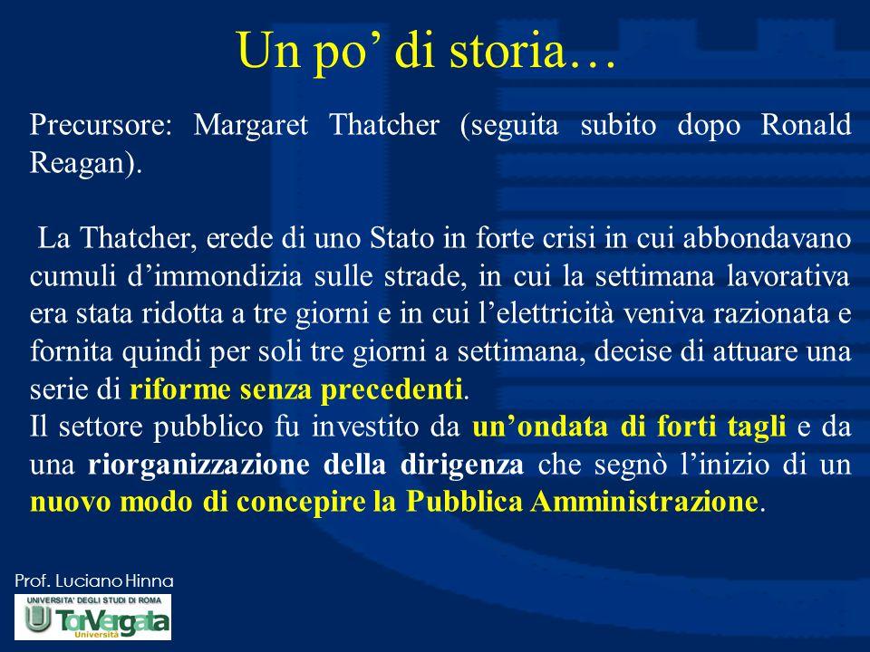 Prof. Luciano Hinna Un po' di storia… Precursore: Margaret Thatcher (seguita subito dopo Ronald Reagan). La Thatcher, erede di uno Stato in forte cris