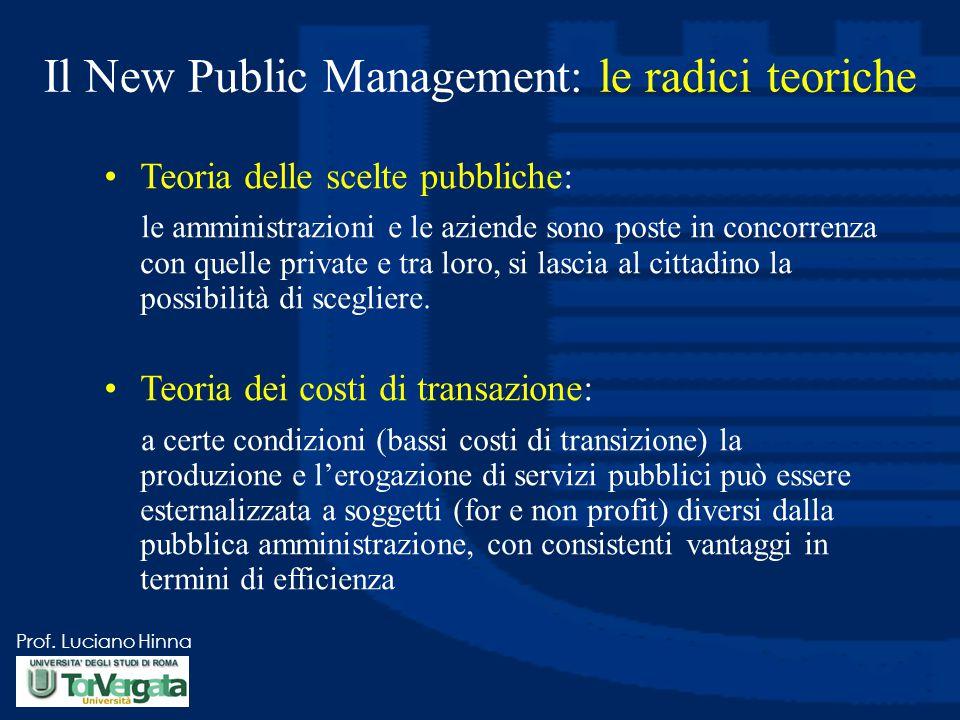 Prof. Luciano Hinna Il New Public Management: le radici teoriche Teoria delle scelte pubbliche: le amministrazioni e le aziende sono poste in concorre