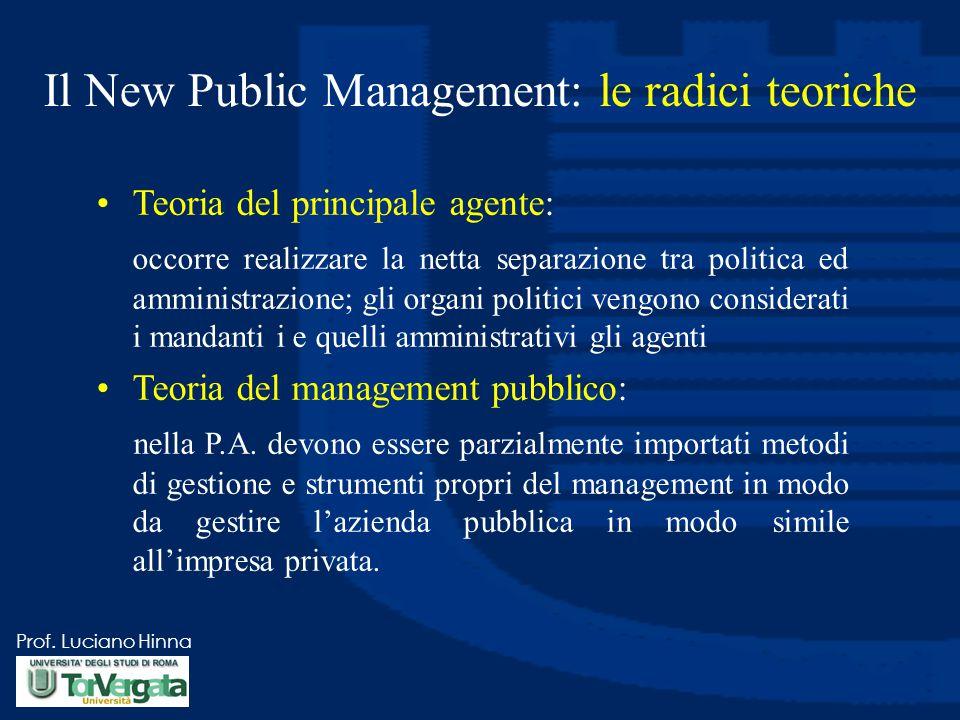Prof. Luciano Hinna Il New Public Management: le radici teoriche Teoria del principale agente: occorre realizzare la netta separazione tra politica ed