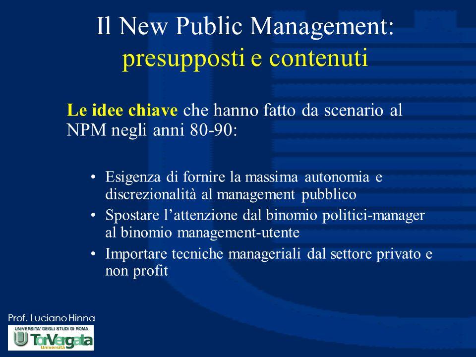 Prof. Luciano Hinna Le idee chiave che hanno fatto da scenario al NPM negli anni 80-90: Esigenza di fornire la massima autonomia e discrezionalità al
