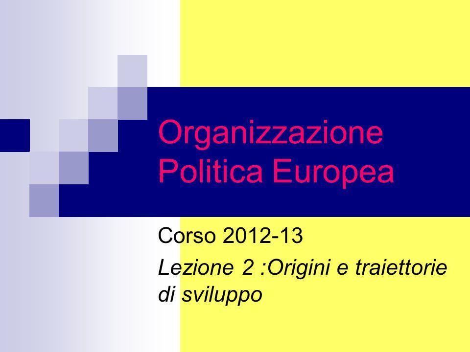 Organizzazione Politica Europea Corso 2012-13 Lezione 2 :Origini e traiettorie di sviluppo