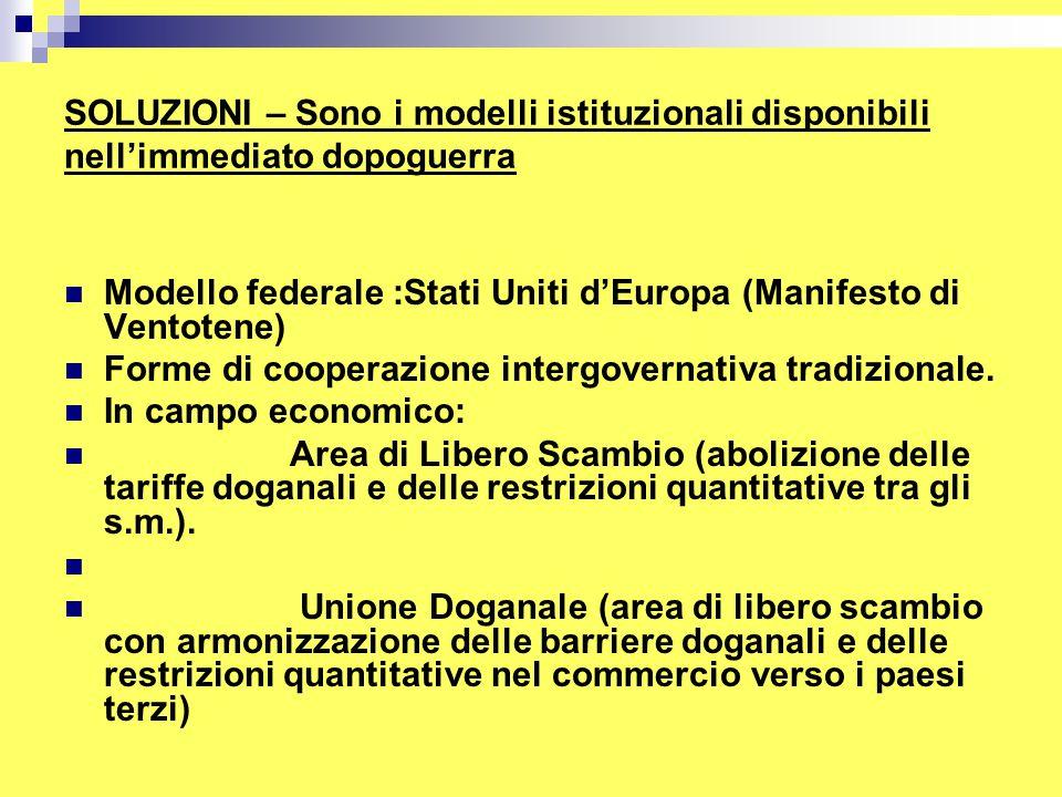 SOLUZIONI – Sono i modelli istituzionali disponibili nell'immediato dopoguerra Modello federale :Stati Uniti d'Europa (Manifesto di Ventotene) Forme di cooperazione intergovernativa tradizionale.