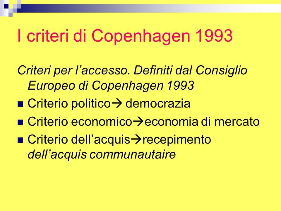 I criteri di Copenhagen 1993 Criteri per l'accesso.