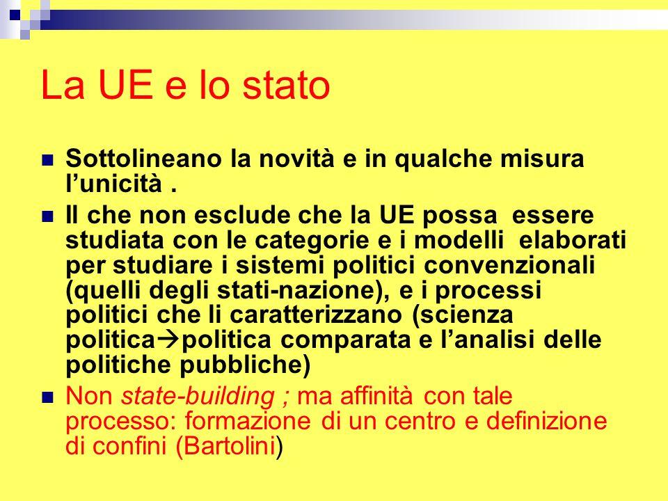 La UE e lo stato Sottolineano la novità e in qualche misura l'unicità.