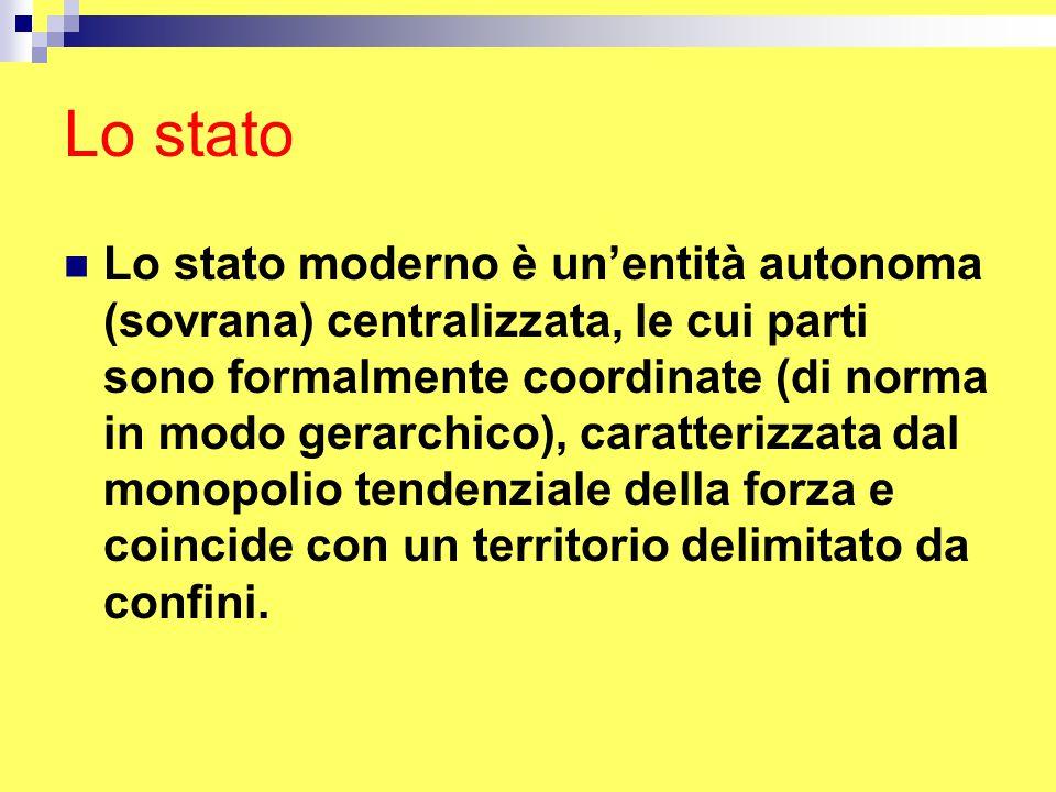 Lo stato Lo stato moderno è un'entità autonoma (sovrana) centralizzata, le cui parti sono formalmente coordinate (di norma in modo gerarchico), caratterizzata dal monopolio tendenziale della forza e coincide con un territorio delimitato da confini.