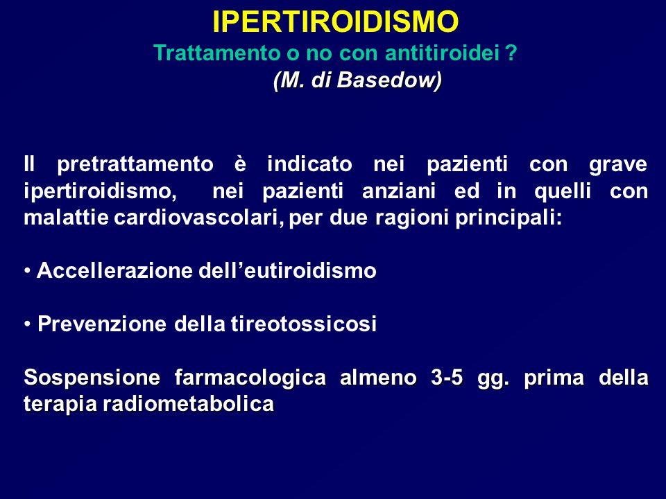 IPERTIROIDISMO Trattamento o no con antitiroidei ? (M. di Basedow) (M. di Basedow) Il pretrattamento è indicato nei pazienti con grave ipertiroidismo,