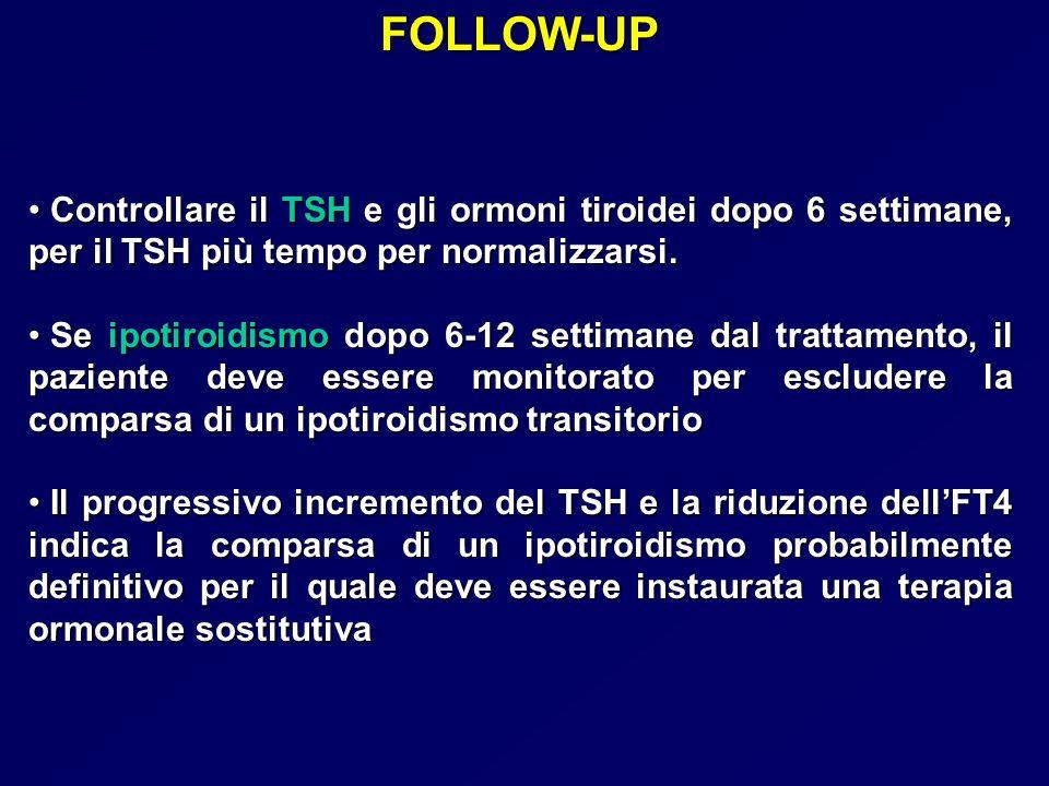 FOLLOW-UP Controllare il TSH e gli ormoni tiroidei dopo 6 settimane, per il TSH più tempo per normalizzarsi. Controllare il TSH e gli ormoni tiroidei