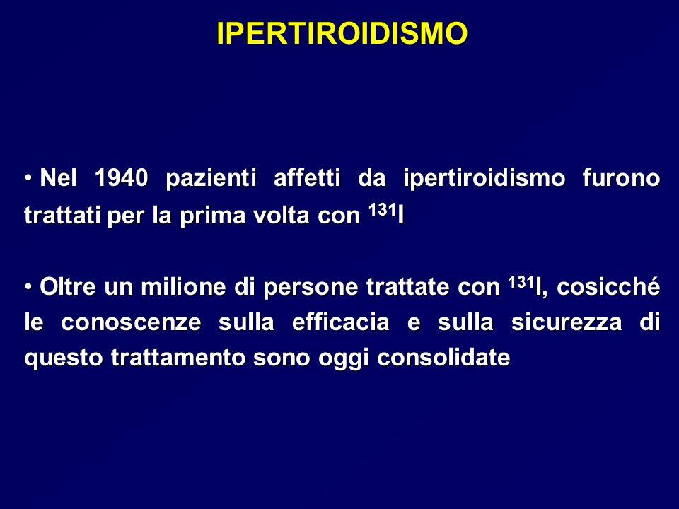 IPERTIROIDISMO Pretrattamento con tireostatici (GMNT) (GMNT) Il pretrattamento puo' favorire l'accumulo di 131-I nel tessuto extranodulare non inibito con una più elevata incidenza di ipotiroidismo Il pretrattamento puo' favorire l'accumulo di 131-I nel tessuto extranodulare non inibito con una più elevata incidenza di ipotiroidismo Sospendere il trattamento tireostatico almeno 3 settimane prima Sospendere il trattamento tireostatico almeno 3 settimane prima Scintigrafia tiroidea puo' mostrare aree autonome e inibizione funzionale del tessuto tiroideo normale Scintigrafia tiroidea puo' mostrare aree autonome e inibizione funzionale del tessuto tiroideo normale Se tessuto tiroideo non soppresso prolungare il periodo di sospensione degli anti-tiroidei associando un beta- bloccante (Signore, 2000 ) Se tessuto tiroideo non soppresso prolungare il periodo di sospensione degli anti-tiroidei associando un beta- bloccante (Signore, 2000 )