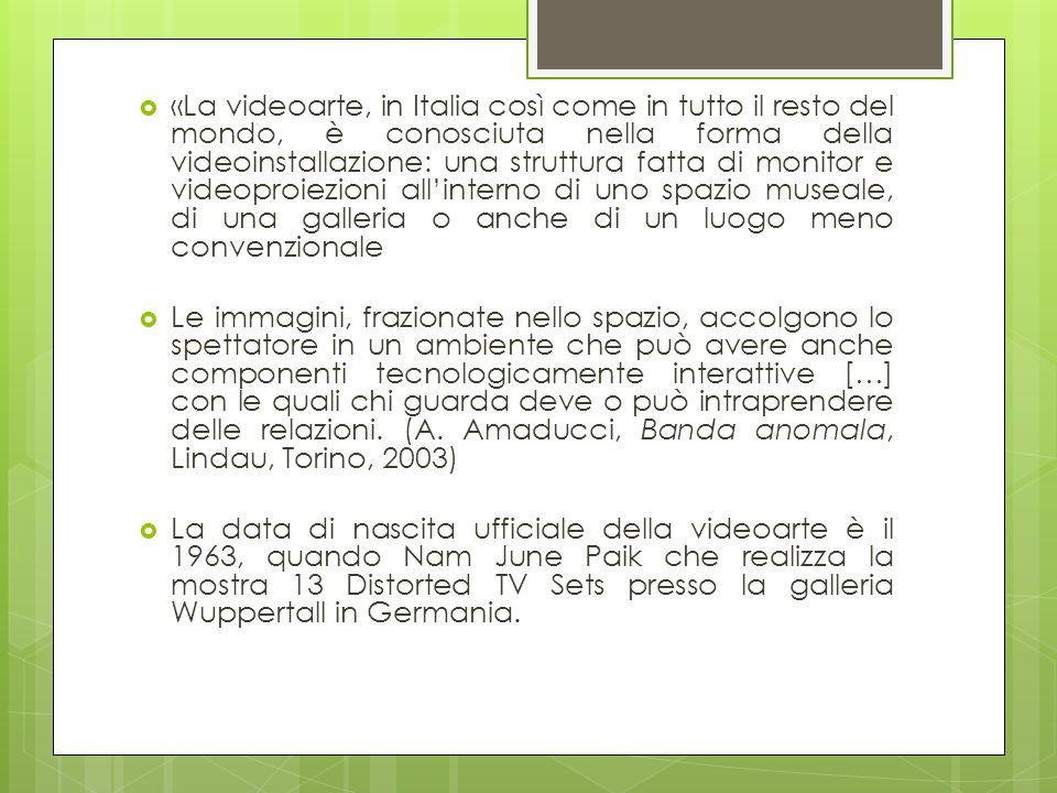  «La videoarte, in Italia così come in tutto il resto del mondo, è conosciuta nella forma della videoinstallazione: una struttura fatta di monitor e