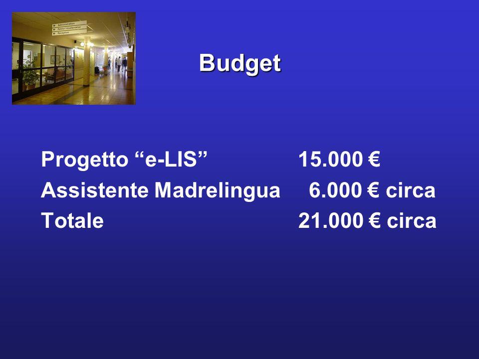 Budget Progetto e-LIS 15.000 € Assistente Madrelingua 6.000 € circa Totale 21.000 € circa