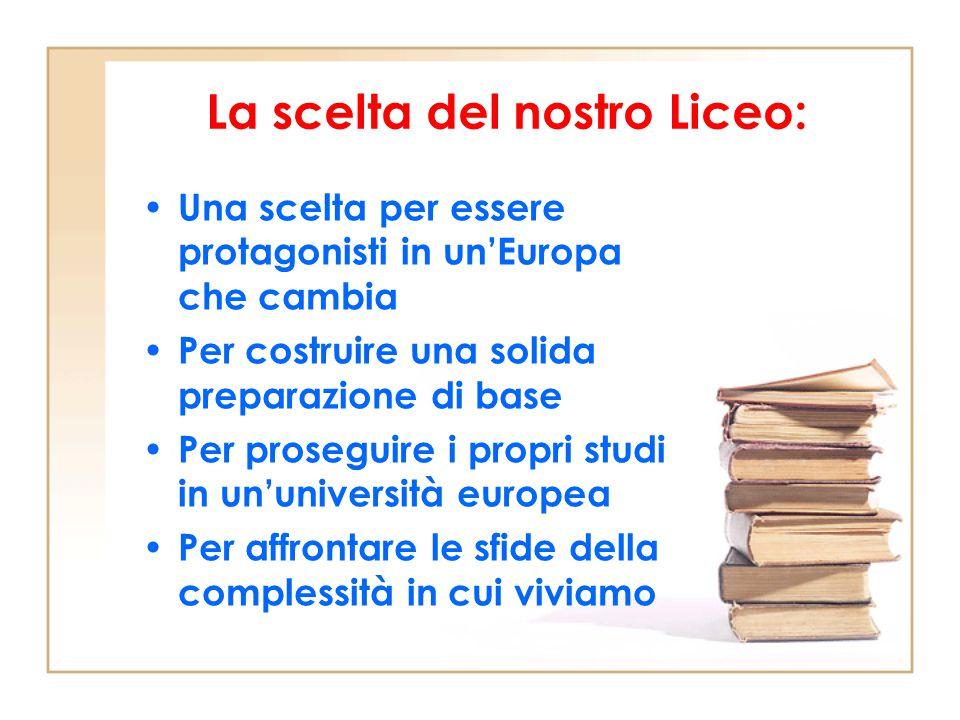 La scelta del nostro Liceo: Una scelta per essere protagonisti in un'Europa che cambia Per costruire una solida preparazione di base Per proseguire i propri studi in un'università europea Per affrontare le sfide della complessità in cui viviamo