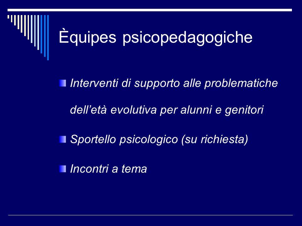 Èquipes psicopedagogiche Interventi di supporto alle problematiche dell'età evolutiva per alunni e genitori Sportello psicologico (su richiesta) Incontri a tema